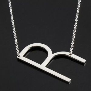 Jewelry - R Block Letter Monogram Stainless Steel Necklace